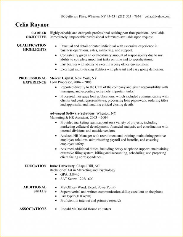 Basic Resume Objective  Business Resume Objective