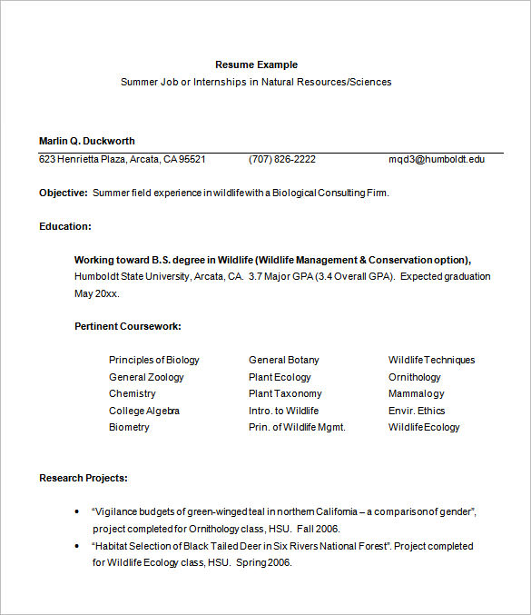 Internship Resume Samples For Mechanical Engineer