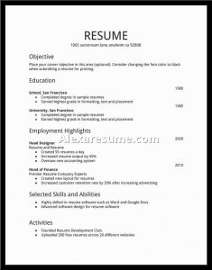 Basic Resume Samples Sample Of Simple Resumes Template Basic Format For Resume  Simple Job Resume  Basic Job Resume Examples