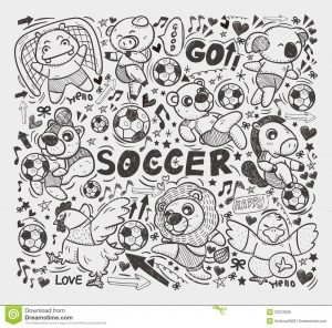 basketball player drawing doodle animal soccer player element cartoon vector illustration