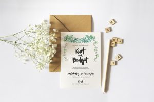 beach wedding invitation hand drawn lettering wedding invite mockup
