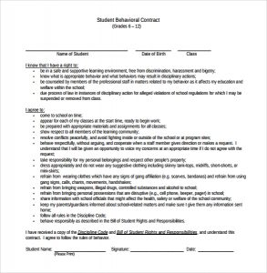 behavior contract template behavior contract template sample
