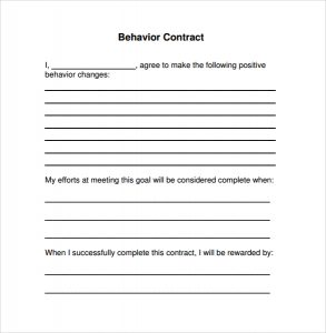 behavior contract template simple behavior contract template