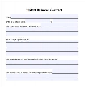behavior contract template student behavior contract template