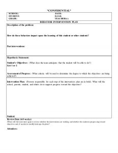 behavior intervention plan template individualized positively oriented behavior intervention plan