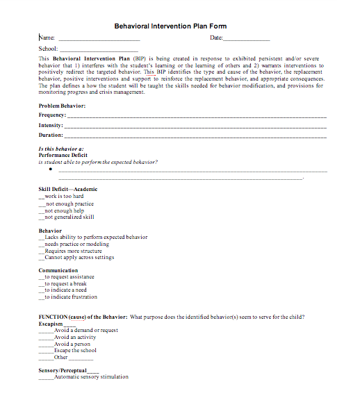 behavior intervention plan template