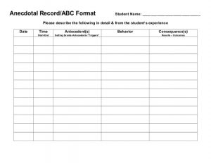 behavior tracking sheet data collection forms
