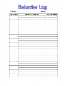 behavior tracking sheet student behavior log printable