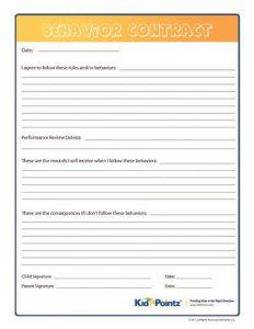 behavioral contract template behavior contract