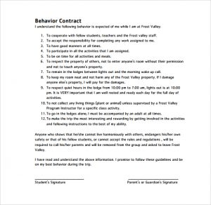 behavioral contract template printable free behavior contract
