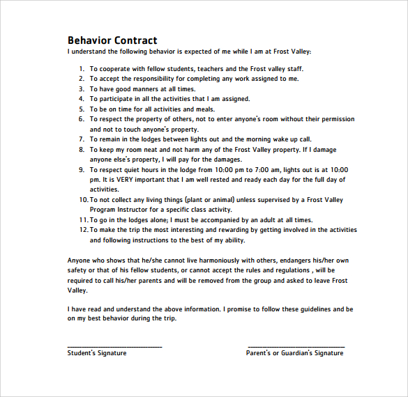 Behavioral Contract Template | Template Business