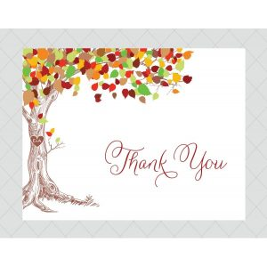best thank you notes free simple with tree design and colorful leaves red text white background unique and modern style images of thank you cards
