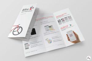 bi fold brochure template biken leaflet in mockup
