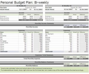 bi weekly budget bi weekly budget