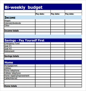bi weekly budget sample bi weekly budget template