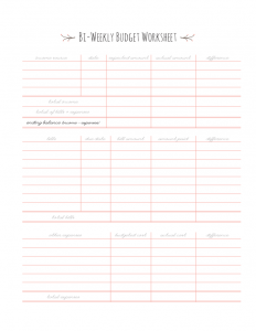 bi weekly pay calendar blank bi weekly budget worksheet l