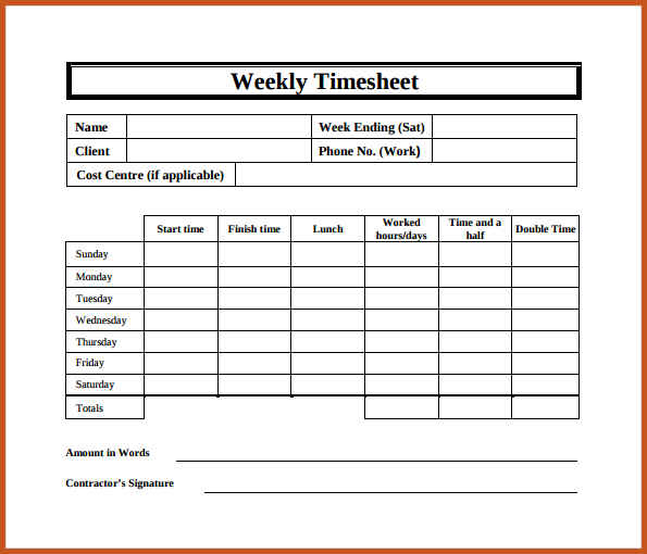 bi weekly timesheet template template business