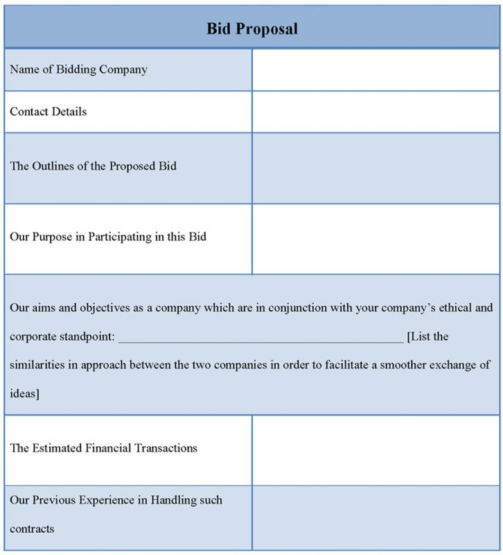 Bid Proposal Template  Template Business