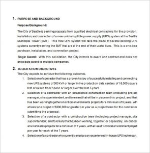 bid proposal template electrical bid proposal template word