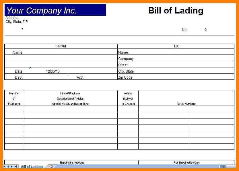 Awesome Bill Of Lading Sample Pdf