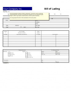 bill of lading template excel bill of lading template