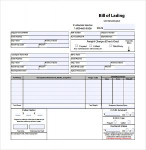 bill of lading template sample bill of lading template