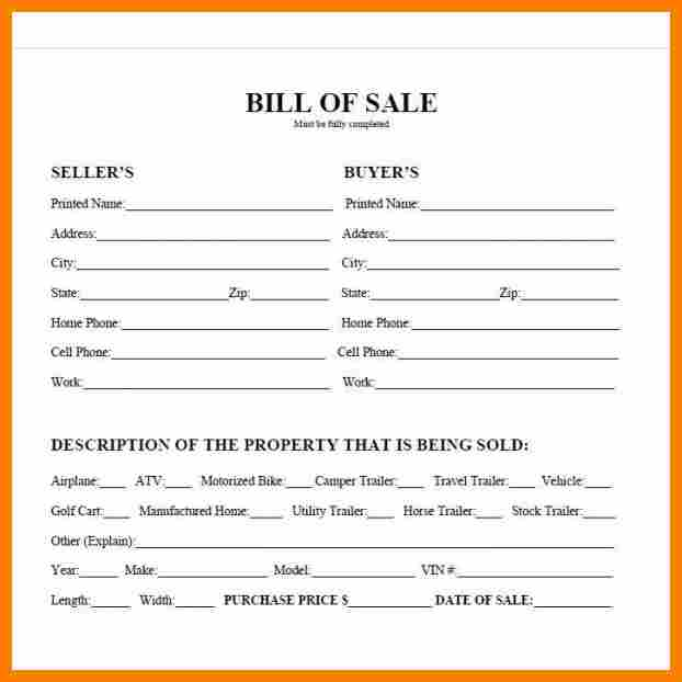 bill of sale for a trailer