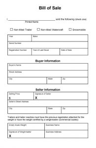 bill of sale for a vehicle bill of sale template