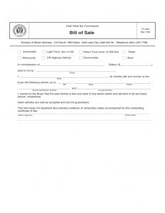 bill of sale for a vehicle trailer bill of sale form utah l