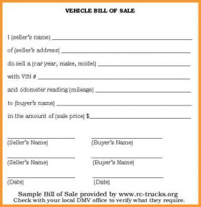 bill of sale for a vehicle used car bill of sale car bill of sale printable