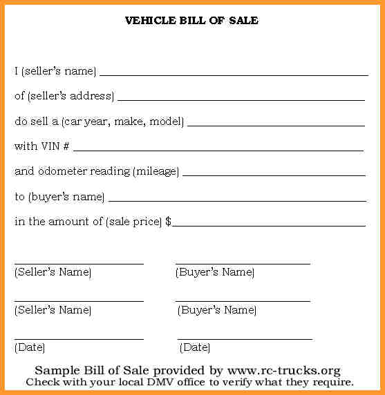 bill of sale for a vehicle