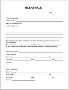bill of sale for car in ga bill of sale form template