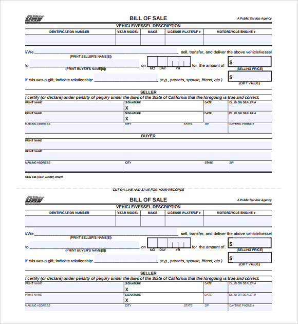 bill of sale for car pdf