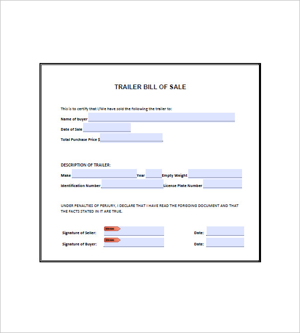 bill of sale for trailer