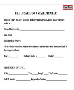 bill of sale for trailer generic bill of sale for trailer