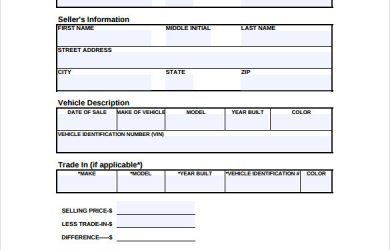 bill of sale for used car bill of a used car sale form