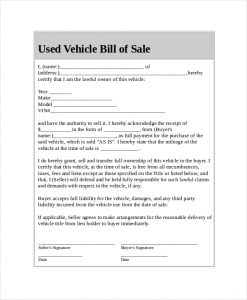 bill of sale for used car printable used car bill of sale