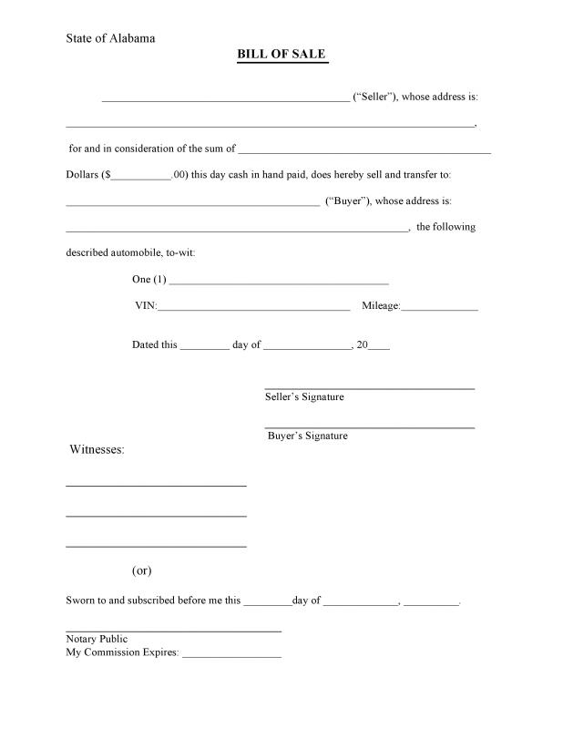 Bill Of Sale Form Pdf  Template Business