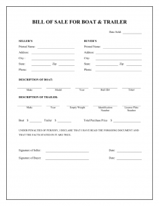 bill of sale form pdf boat trailer bill of sale form