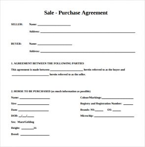 bill of sale horse example of purchase agreement