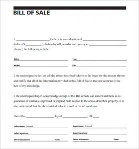 bill of sale sample carscom vehivle bill of sale of car