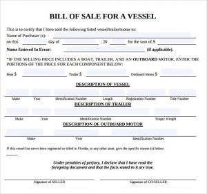 bill of sale template pdf boat bill of sale template pdf