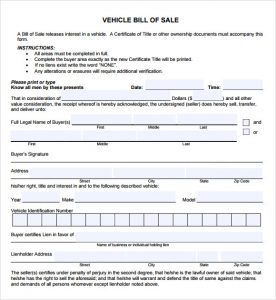bill of sale template pdf vehicle bill of sale pdf