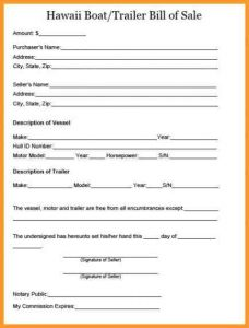 bill of sale templates trailer bill of sale hawaii boat trailer bill of sale x