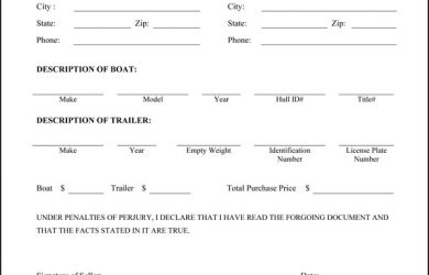 bill of sale trailer boat trailer bill of sale
