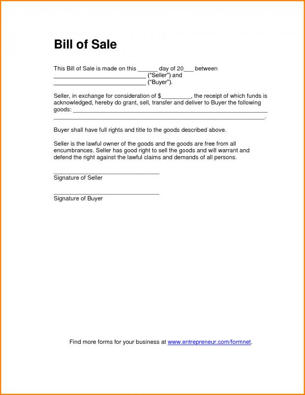 Bill Of Sale Word Template | Template Business