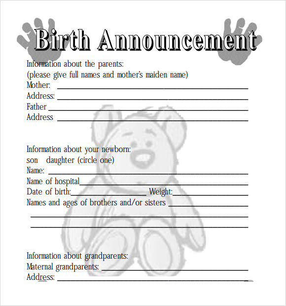 Birth Announcement Template  Template Business