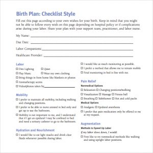 birth plan pdf birth plan checklist template pdf