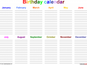 birthday calendar template birthday calendar