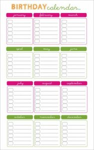 birthday calendar template free birthday calendar template